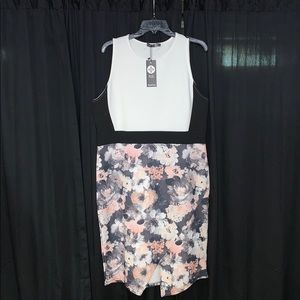 BOOHOO Floral Body Con Dress